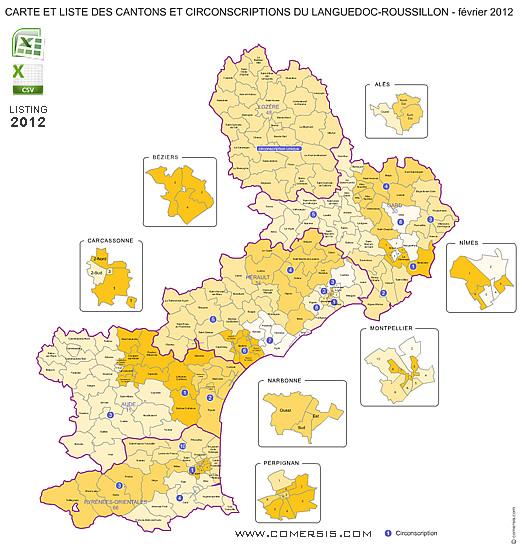 Carte Languedoc Roussillon.Carte Cantons Du Languedoc Roussillon