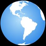 Globe terrestre centré sur l'Amérique Latine