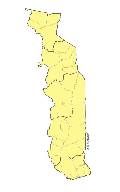 Regions et prefectures du Togo