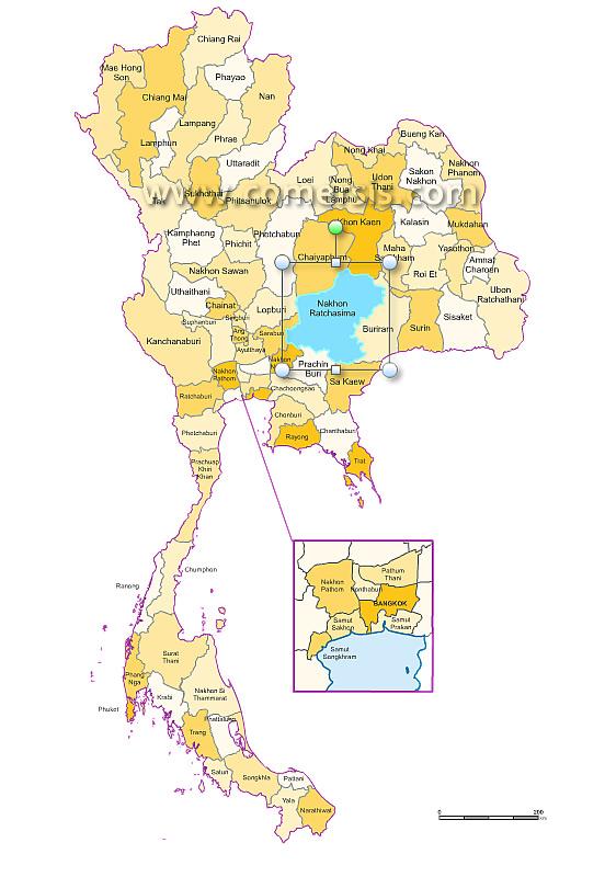 provinces de Thailande Excel et Word