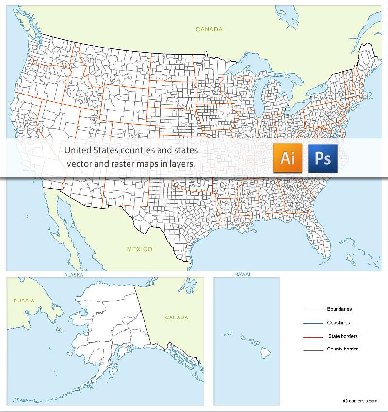 des comtés des États-Unis modifiable