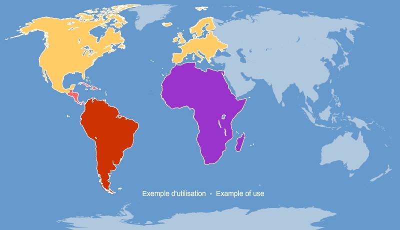 des continents du Monde pour Word et Excel