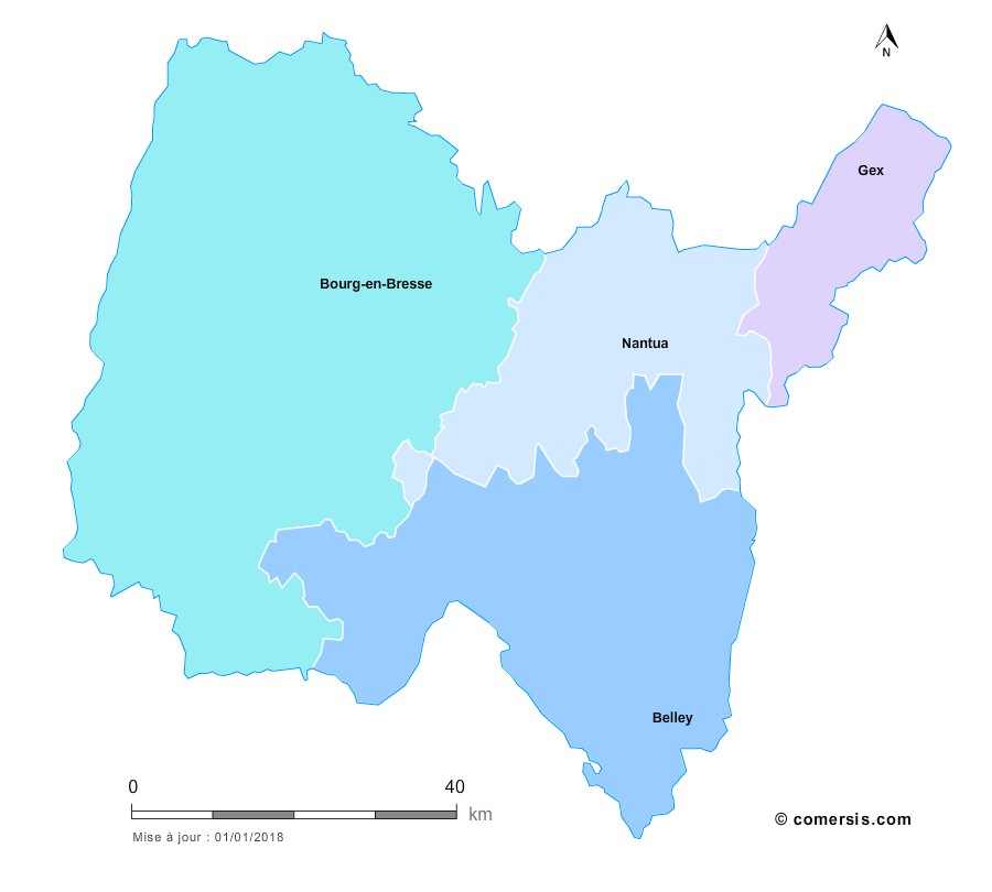 Fond de carte arrondissements 2018 de l'Ain