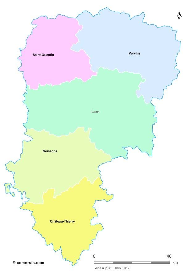 Fond de carte arrondissements 2018 de l'Aisne