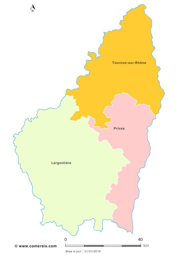 Fond de carte arrondissements 2018 de l'Ardèche