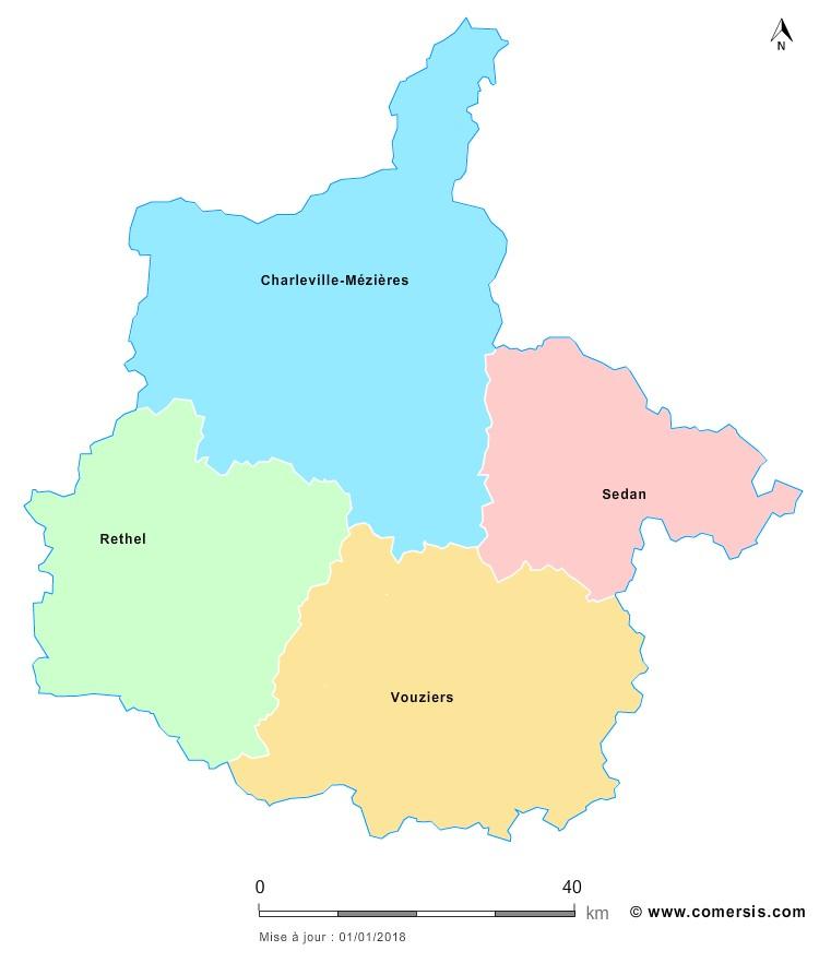 Fond de carte arrondissements 2018 des Ardennes
