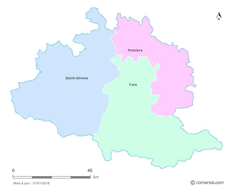 Fond de carte arrondissements 2018 de l'Ariège