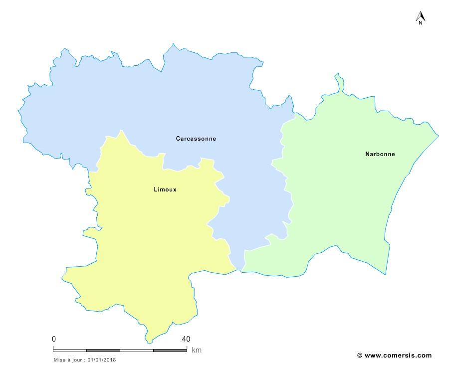 Fond de carte arrondissements 2018 de l'Aude
