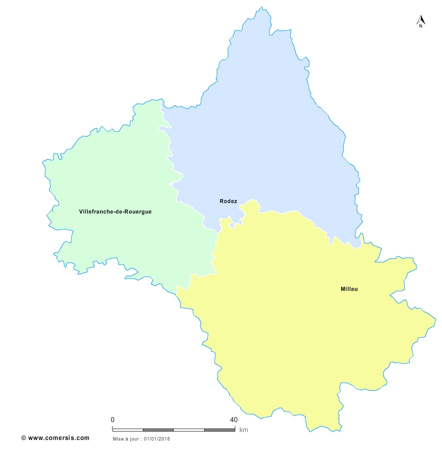 Fond de carte arrondissements 2018 de l'Aveyron