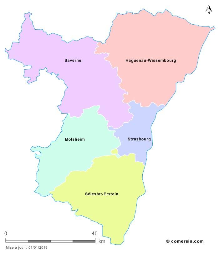 Fond de carte arrondissements 2018 du Bas-Rhin