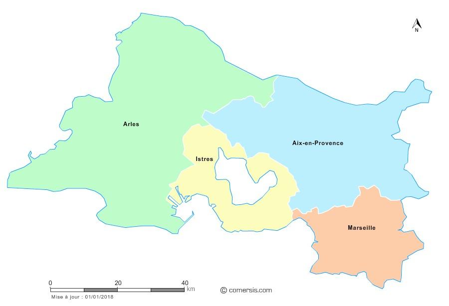 Fond de carte arrondissements 2018 des Bouches-du-Rhône