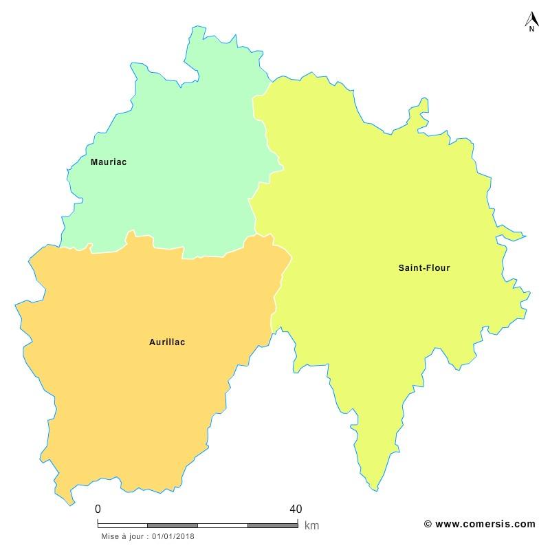 Fond de carte arrondissements 2018 du Cantal