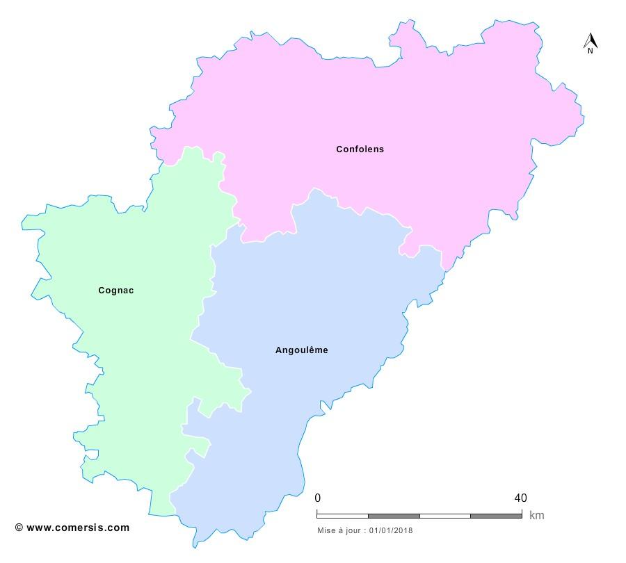 Fond de carte arrondissements 2018 de la Charente