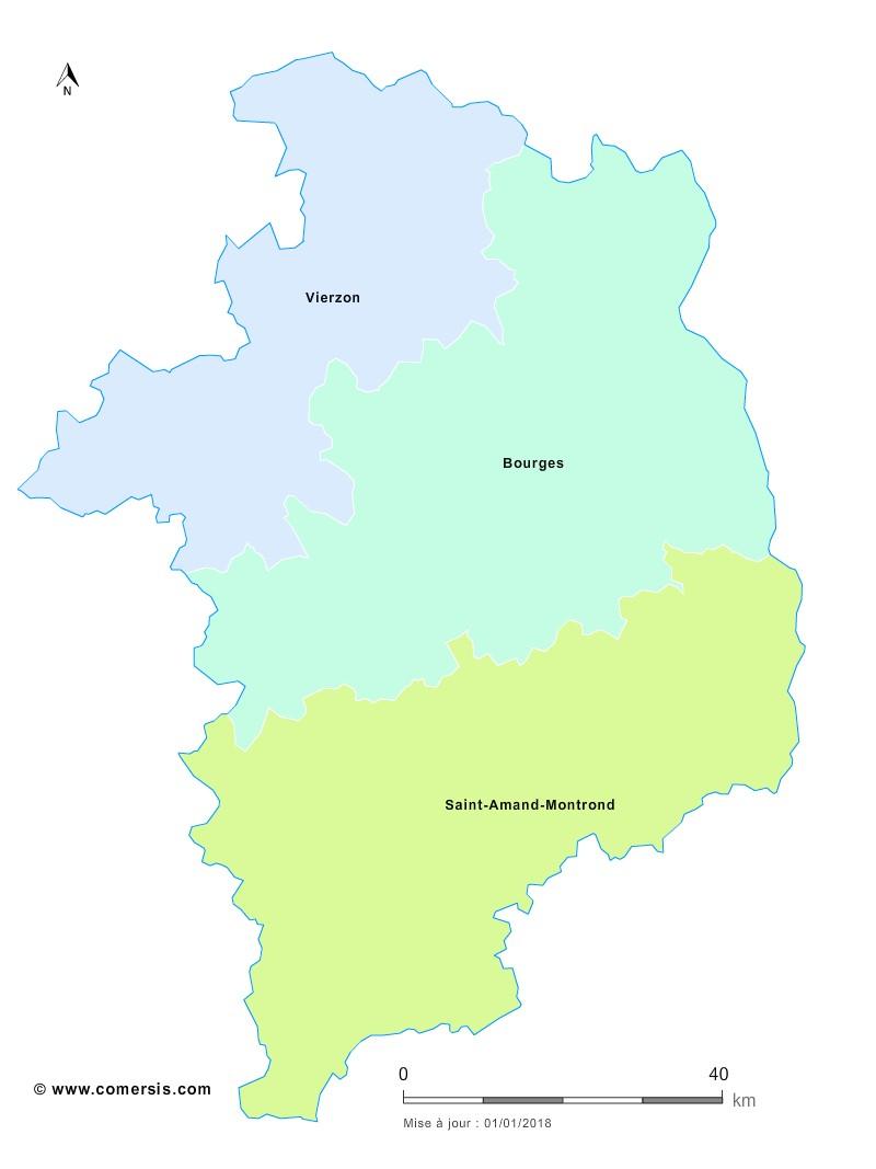 Fond de carte arrondissements 2018 du Cher