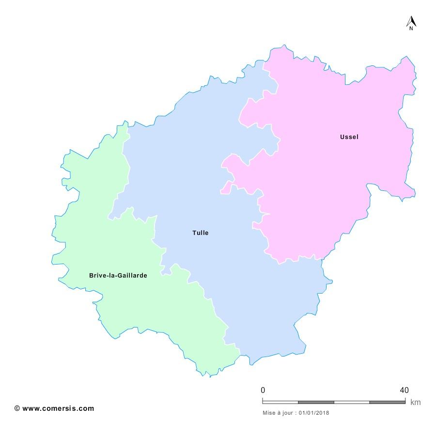 Fond de carte arrondissements 2018 de la Corrèze