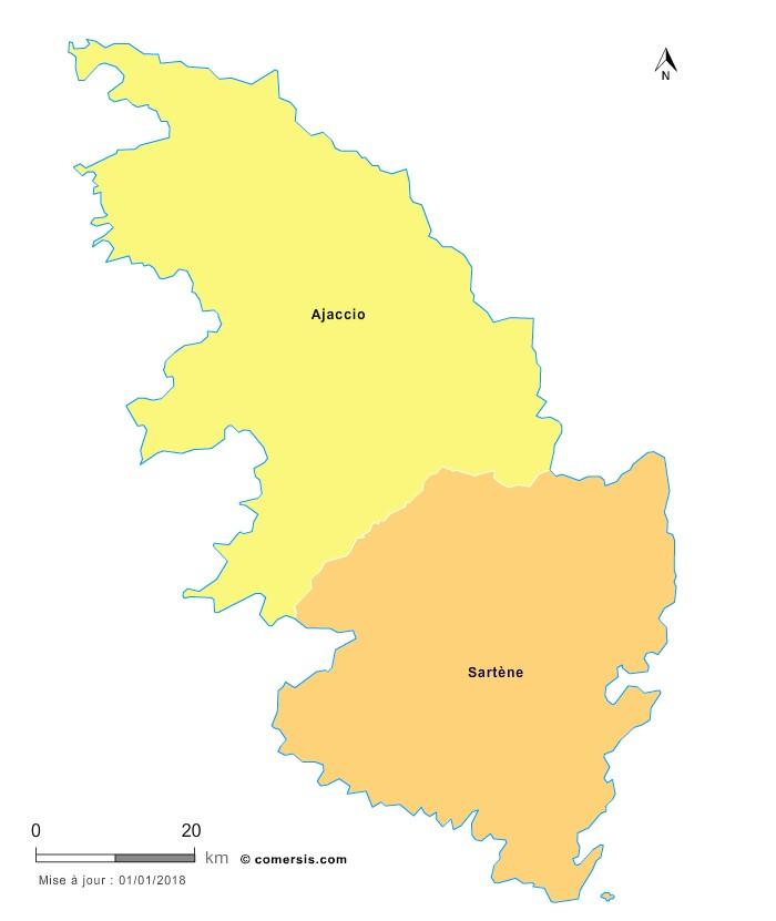 Fond de carte arrondissements 2018 de la Corse-du-Sud