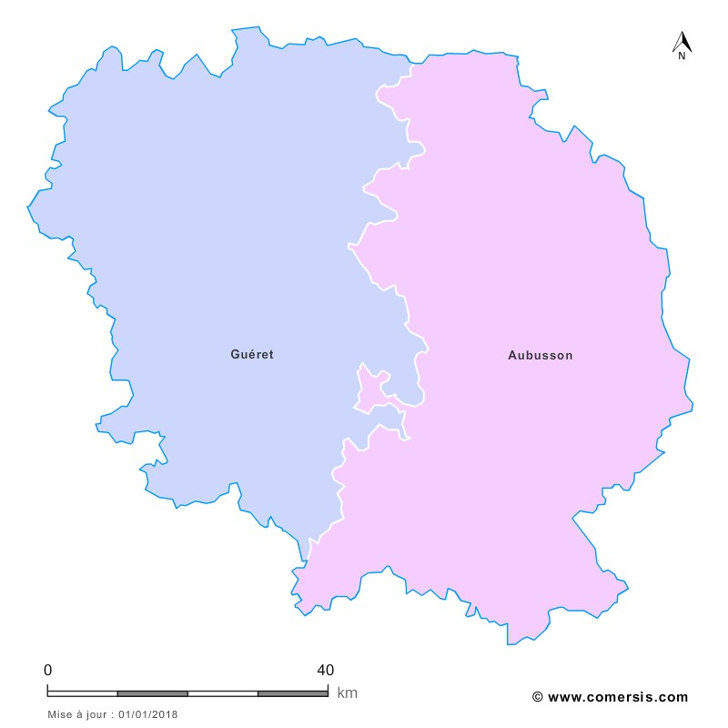 Fond de carte arrondissements 2018 de la Creuse