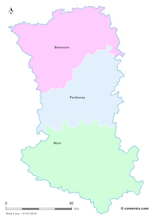 Fond de carte arrondissements 2018 des Deux-Sèvres