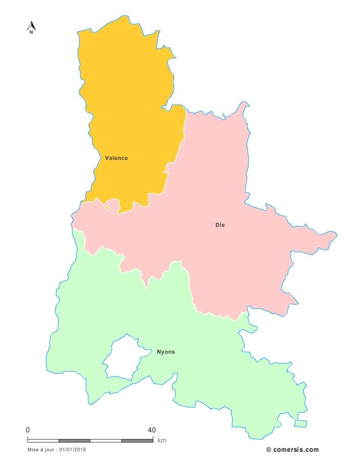 Fond de carte arrondissements 2018 de la Drôme