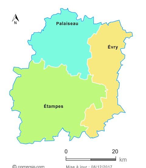 Fond de carte arrondissements 2018 de l'Essonne