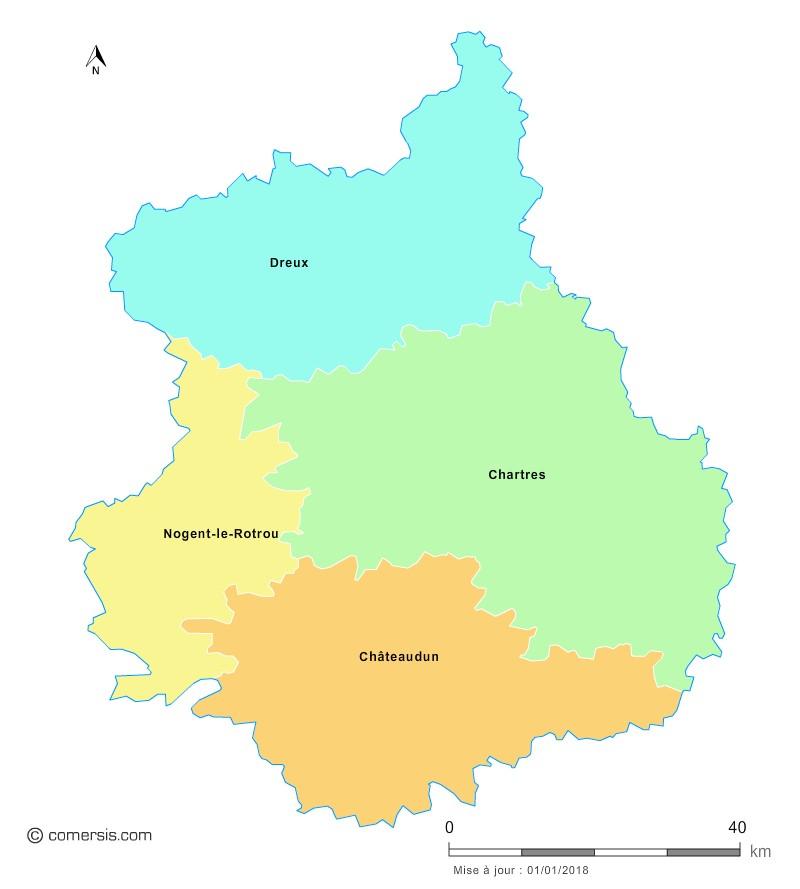 Fond de carte arrondissements 2018 d'Eure-et-Loir