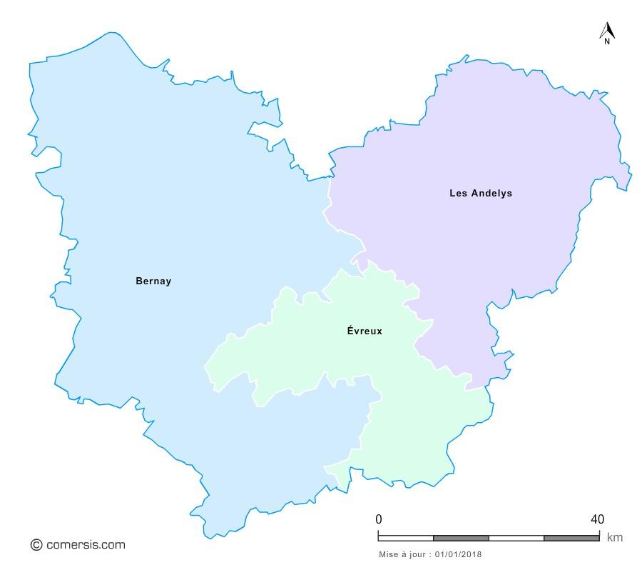 Fond de carte arrondissements 2018 de l'Eure