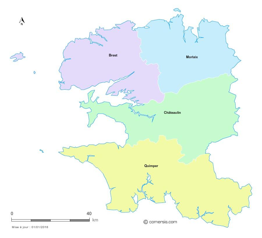 Fond de carte arrondissements 2018 du Finistère