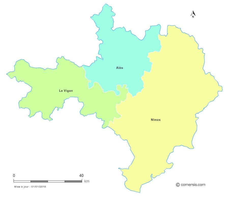 Fond de carte arrondissements 2018 du Gard