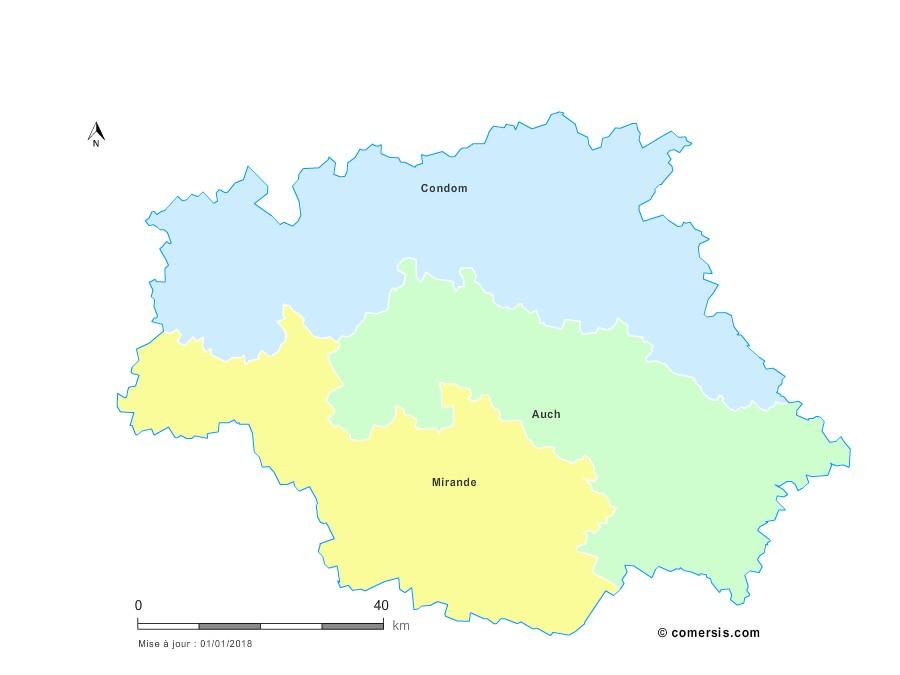 Fond de carte arrondissements 2018 du Gers