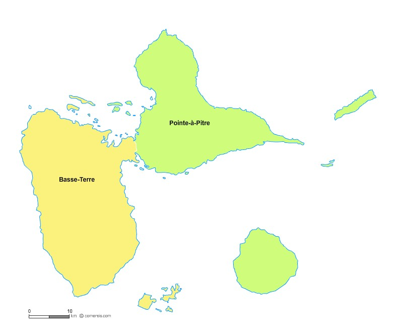 Fond de carte arrondissements 2018 de la Guadeloupe