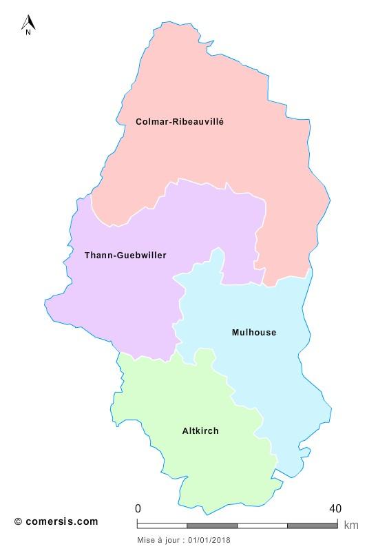 Fond de carte arrondissements 2018 du Haut-Rhin