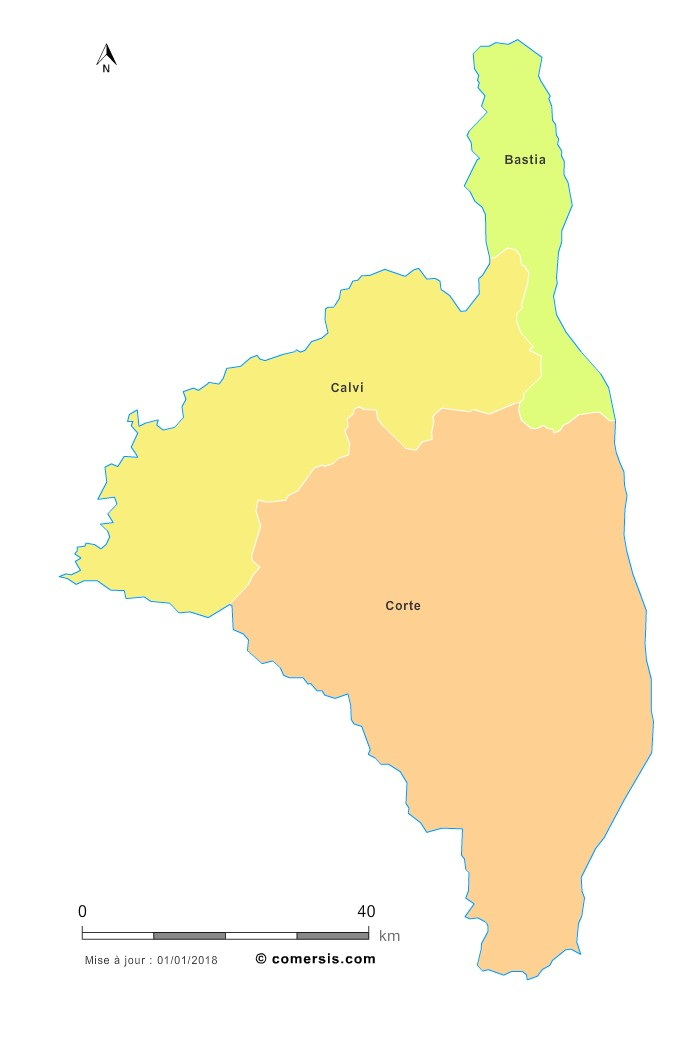 Fond de carte arrondissements 2018 de la Haute-Corse