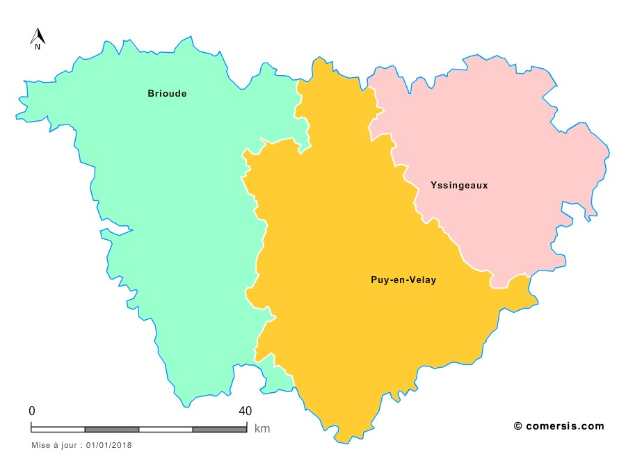 Fond de carte arrondissements 2018 de la Haute-Loire