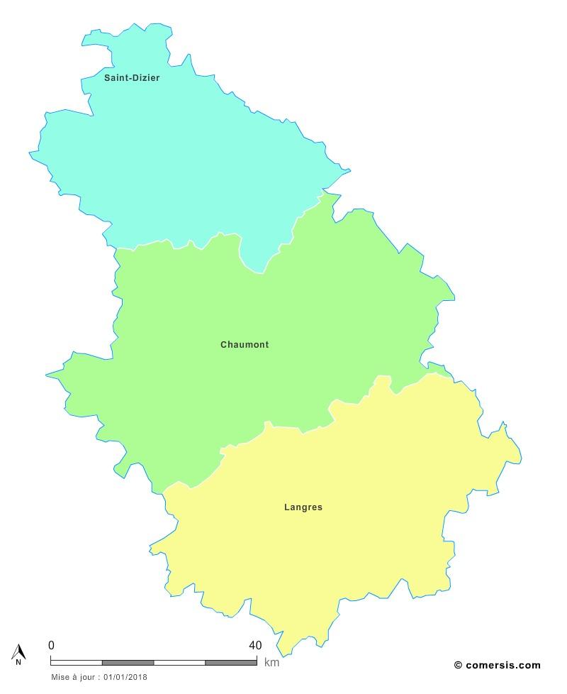Fond de carte arrondissements 2018 de la Haute-Marne