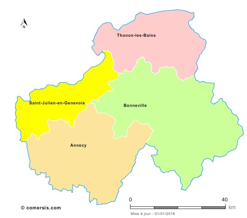 Fond de carte arrondissements 2018 de la Haute-Savoie