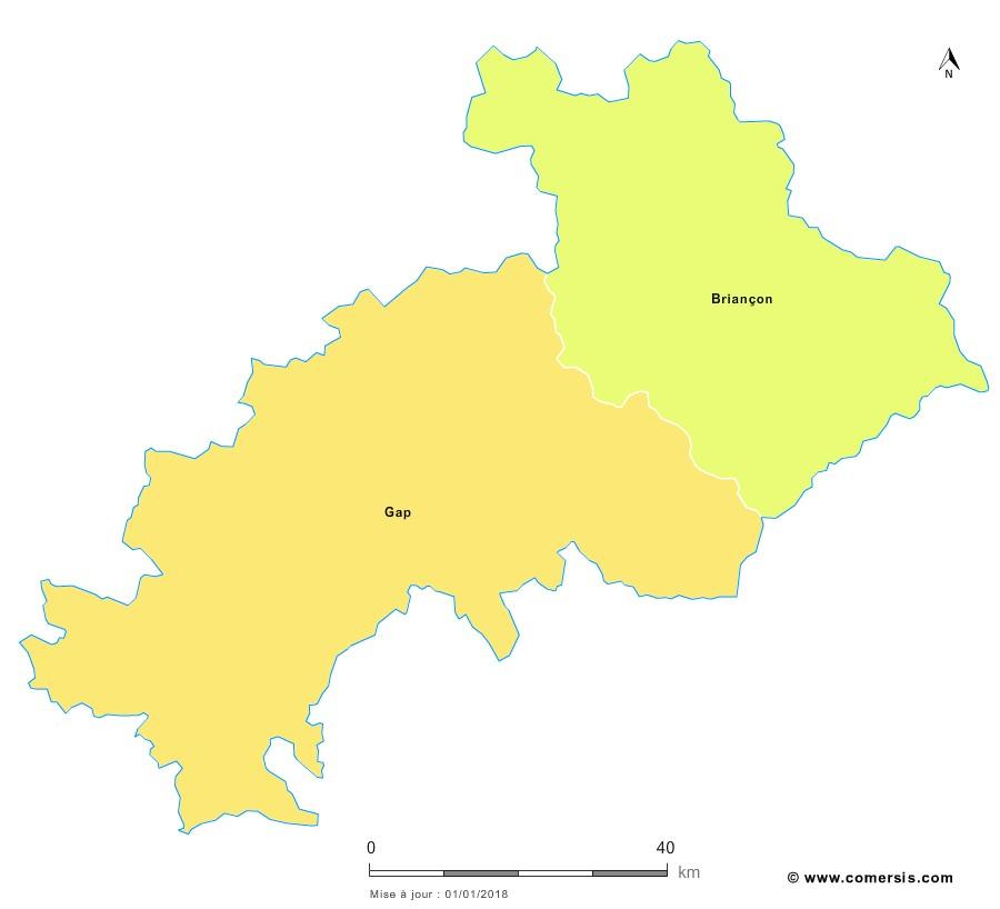 Fond de carte arrondissements 2018 des Hautes-Alpes