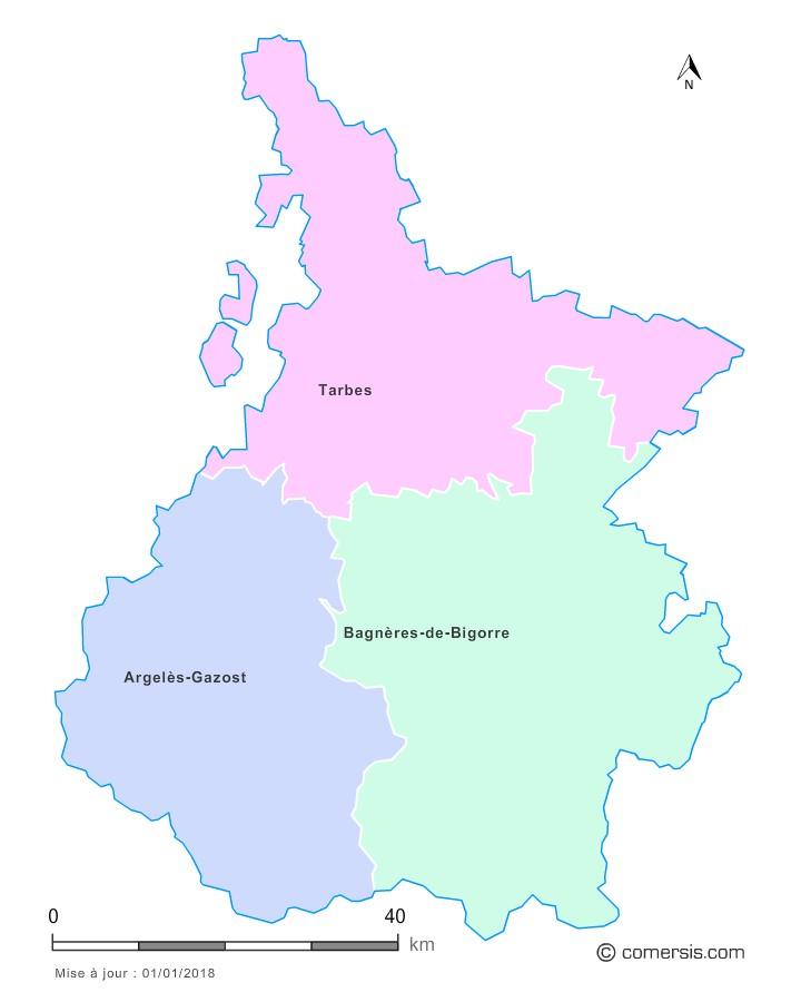 Fond de carte arrondissements 2018 des Hautes-Pyrénées