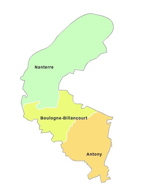 Fond de carte arrondissements 2018 des Hauts-de-Seine