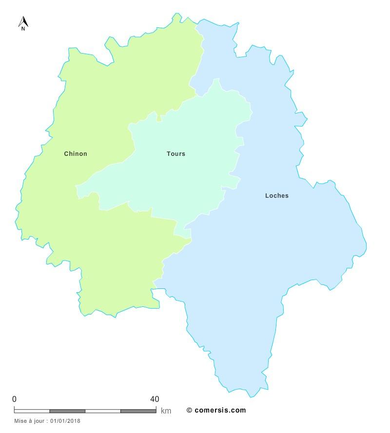 Fond de carte arrondissements 2018 d'Indre-et-Loire