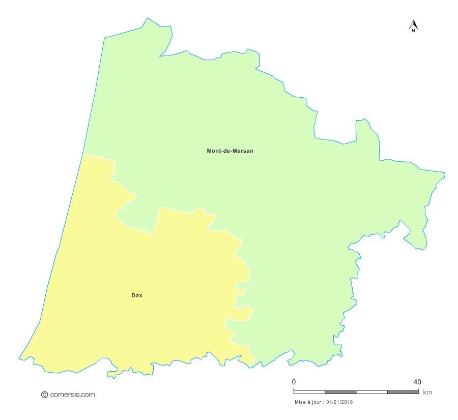 Fond de carte arrondissements 2018 des Landes