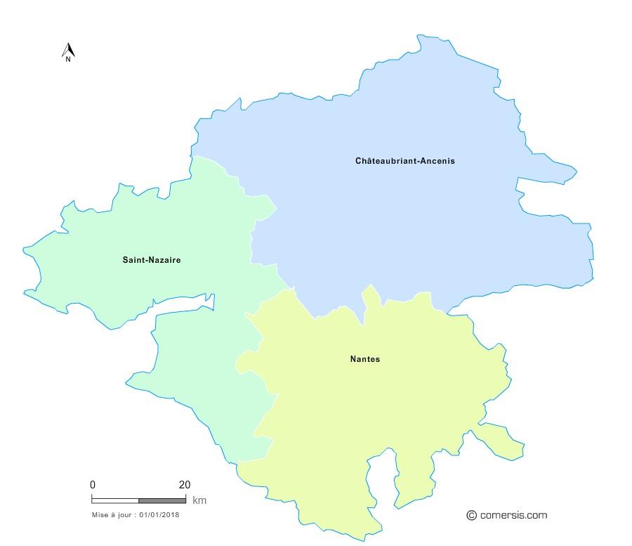 Fond de carte arrondissements 2018 de la Loire-Atlantique