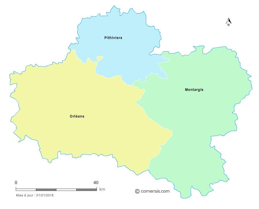 Fond de carte arrondissements 2018 du Loiret