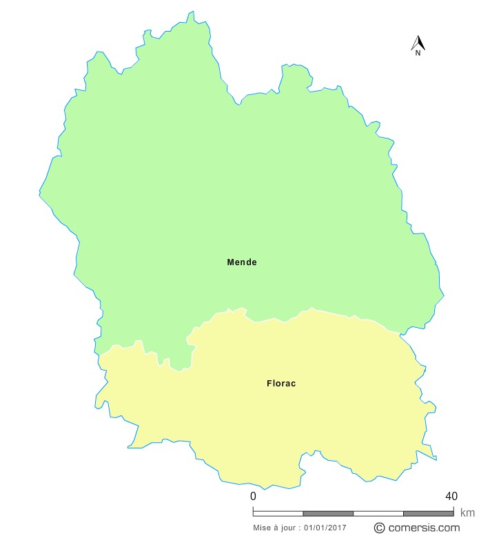 Fond de carte arrondissements 2018 de la Lozère