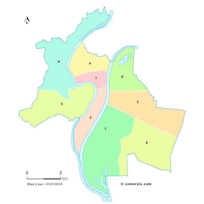 Fond de carte des arrondissements de Lyon