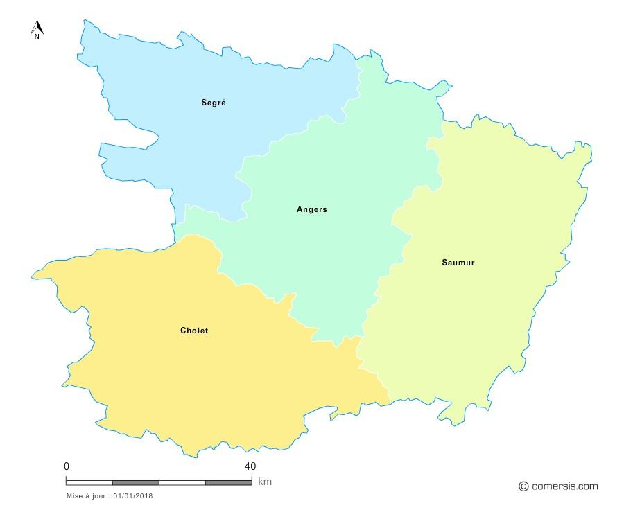 Fond de carte arrondissements 2018 de Maine-et-Loire