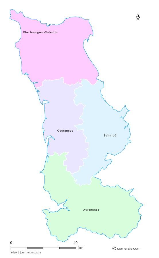 Fond de carte arrondissements 2018 de la Manche