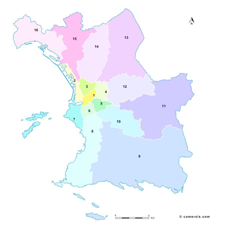Fond de carte des arrondissements de Marseille