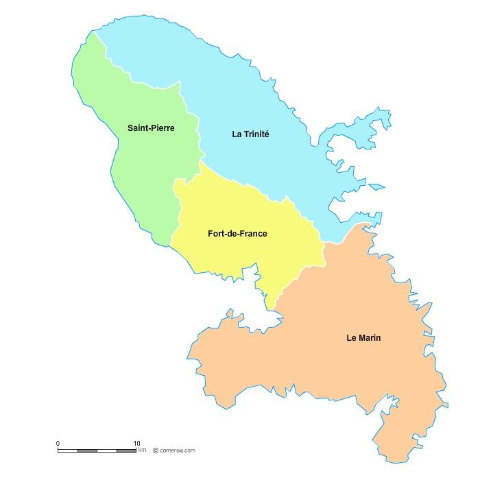 Fond de carte arrondissements 2018 de la Martinique