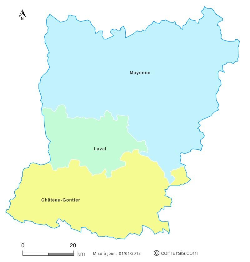 Fond de carte arrondissements 2018 de la Mayenne
