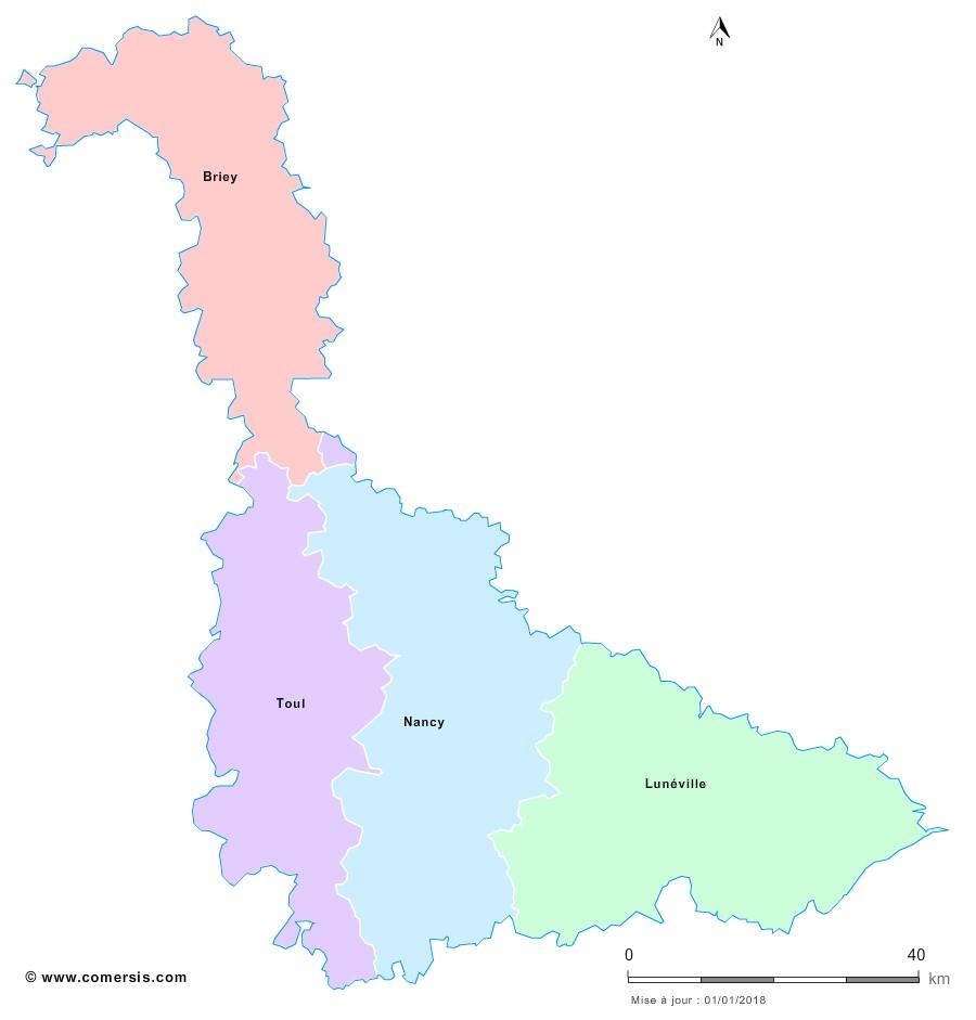 Fond de carte arrondissements 2018 de Meurthe-et-Moselle